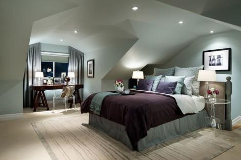 dormitor la mansarda cu spoturi